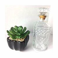 Vintage Dranbuie Cut Glass Liquor Decanter Diamond Shaped Cork Stopper