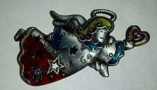 Enamel angel pin brooch