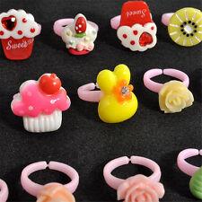 Charm Wholesale Mixed Lots Cute Cartoon Children/Kids Resin Rings Jewelry 20pcs