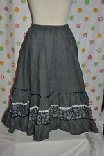 CARE FREE  ONE SIZE 8 - 16 Lined SKIRT BOHO SWING SQUARE DANCE  FREE SHIPPING