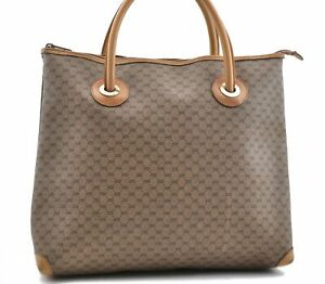 Authentic GUCCI Micro GG PVC Leather Shoulder Hand Bag Brown 0904A