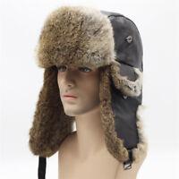 Unisex Winter Russian Ushanka Bomber Hats Men Women Real Rabbit Fur Skiing Hats