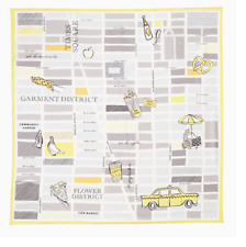 """Kate Spade New York """"Taxi Square"""" 100% Silk Scarf Heather Grey Square/ Carré 34"""