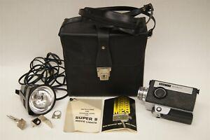 Kodak Instamatic M28 Super 8 Vintage Movie Video Camera with Case and Light