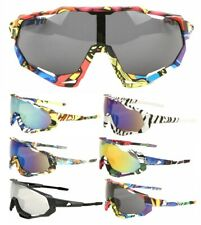 GNARLY ATHLETIC SHIELD WRAP AROUND ONE PIECE LENS SUNGLASSES SPORT OUTDOOR BEACH