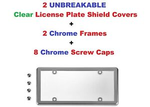2 UNBREAKABLE Clear License Plate Shield + 2 Chrome Frames + Screw Caps for Cars