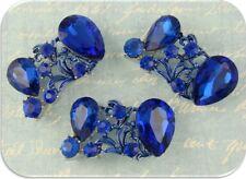 2 Hole Beads Blue Sapphire Glass Facet Teardrops+Swarovski Crystal Elements Qty3