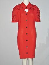GILIAM'S Size L Red Short Sleeves Button Down  Vintage Sheath Dress