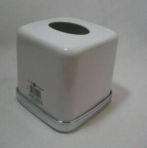 Interior Design White Upright Tissue Box Cover Silver Trim Metal Bath Vanity New