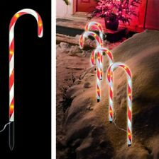 4Pcs Candy Cane Lights Pathway Markers For Outdoor Yard Pathway