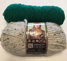 Two Skeins Yarn Lion Brand Wool-Ease Oatmeal Green knitting crafts sewing