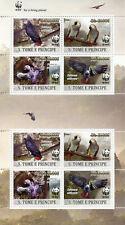 More details for sao tome & principe wwf stamps 2020 mnh grey parrots birds gold ovpt 8v m/s