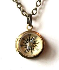 Brass LOCKET w/ Nautical WORKING COMPASS Pendant Charm Necklace Steampunk