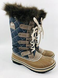 Sorel Tofino Women's 6 Navy & Brown Waterproof Winter Boots NL1911-467