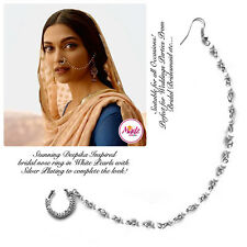 Indian Bollywood silver nath Nose Ring Wedding Bridal Traditional Jewelry pearl