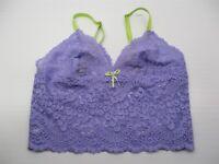 new VS VICTORIA'S SECRET Bra Women's Size M Longline Purple/Green Lace Bralette