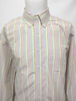 BROOKS BROTHERS Rainbow Striped Multicolor Long Sleeve Dress Shirt Mens Size XL