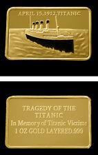 Titanic 1 oz 999 Kupfer Kupferbarren Farbe Farbedition mit 999 Gold veredelt