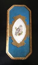 Vintage Italian florentine Gold Gilt Toleware Wall Plaque with Snowy Owl