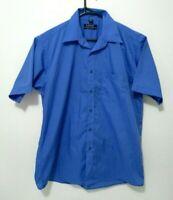 Arrow USA Mens Shirt Size L Blue Short Sleeve Button Up Front Pocket Casual