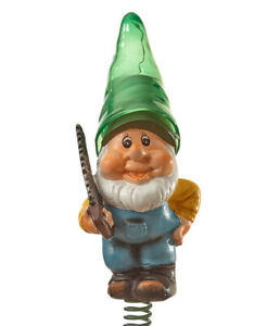 Solar Lighted Gnome w/ Green Hat Holding Saw Wind Bouncer Garden Stake
