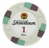 NEW 100 White $1 Showdown 13.5 Gram Clay Poker Chips Buy 3 Get 1 Free