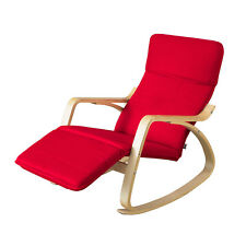 SoBuy® Wood Relax Rocking Chair with 5-Adjustable Footrest,FST16-R, Red, UK
