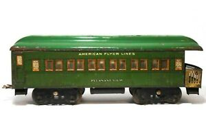 PRE-WWII AMERICAN FLYER 4042 PLEASANT VIEW WIDE GAUGE LITHO'D TIN PASSENGER CAR
