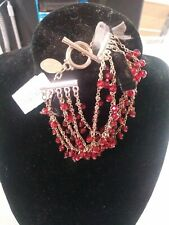 WHITE HOUSE BLACK MARKET BAUBLE BRACELET NWT RED BEADS & GOLD HARDWARE