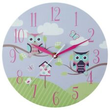 Kids Owl Wall Clock Fantastic Addition Reliable MDF Colourful Playful Sketch New