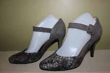 MODA REFLEX HEELS TAUPE LILLY BROWN GRAY SNAKESKIN SLATE SUEDE NEW IN BOX SIZE 9
