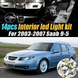14Pc Super White Car Interior LED Light Bulb Kit for 2003-2007 Saab 9-5