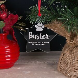 Personalised Acrylic Pet Memorial Star Christmas Tree Decoration Bauble Gift