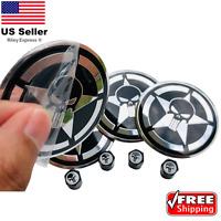 [BUNDLE] Punisher Shield Wheel Center Cap Sticker & Wheel Tire Valve Caps
