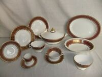 c4 Porcelain Fine Bone China Royal Doulton - Buckingham, gilded, burgundy - 1D2C