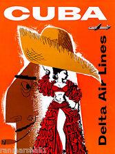 Cuba Cuban Caribbean Island by Clipper Vintage Travel Advertisement Art Poster