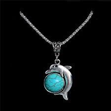 Fashion Bohemian Cute Dolphin Shape Turquoise Stone Pendant Women Necklace Chain