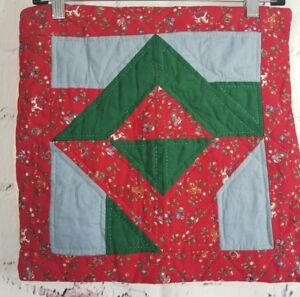 """Vintage Hand Made Hand-Quilted Holiday Pillow Sham 15"""" square Christmas Colors"""