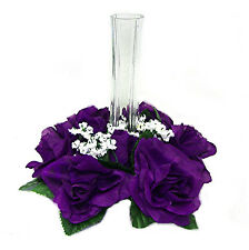 6 Candle Rings Lot REGENCY PURPLE Silk Wedding Flowers Centerpieces Decoration
