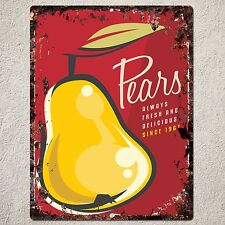 PP0159 Rust PEARS Sign Home Kitchen Shop Cafe Restaurant Interior Decor Gift