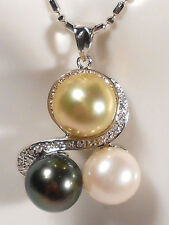 multi-color South Sea pearl pendant, diamonds, solid 14k white gold.