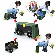 Garden Kneeling Stool Rolling Tool Storage Seat Portable Gardener Toolbox Helper