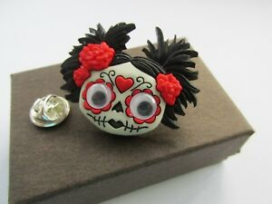 Halloween Scary Trick or Treat Goth Girl Monster Brooch Lapel Tie Pin - Boxed