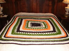 NEW Afghan Handcrafted Crochet Throw Blanket ~ Multi Color Square