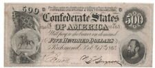 1864 Confederate States CSA $500 Dollar Civil War Currency Richmond Note HCF8465