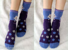 3 Pairs Women lady Wool soft Socks Warm Comfortable SALE Cartoon Cat Thicken