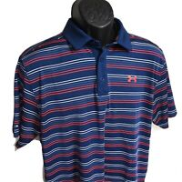 UNDER ARMOUR Mens Large Heat Gear Loose Fit Golf Polo Shirt Coldblock Blue Red L