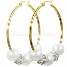 Women Gold Tone Stainless Steel 45mm Hoop Imitation Pearls Rhinestone Earrings