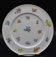 "G Durig German Hand Painted Dresden Flowers & Gold 9 7/8"" Dinner Plate"