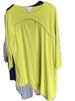 JOAN VASS Chartreuse Boat Neck 3/4 Sleeve Asymmetrical Hem Tunic Sz Large Or 2